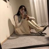 長靴 泫雅尖頭粗跟彈力高筒靴女米白色長靴高跟騎士靴顯瘦韓版不過膝靴 風馳