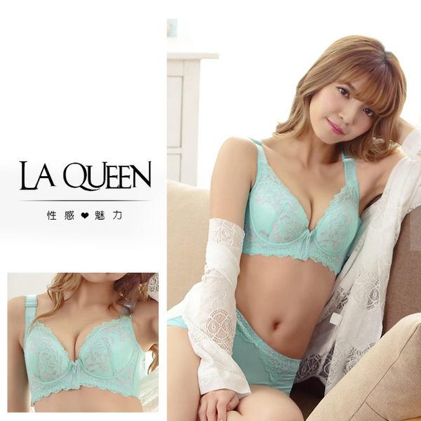 LaQueen 法式蕾絲透氣蠶絲內衣組(7309 綠)