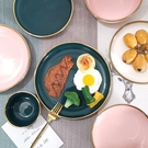 西餐盤 北歐新款盤子創意輕奢日式陶瓷盤西餐平盤湯盤早餐盤魚盤【快速出貨八折下殺】