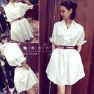 【QV1163】魔衣子-氣質寬鬆顯瘦翻領中長款五分袖連身裙