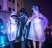 透明沖鋒衣 潮牌連帽風衣外套男徒步防水雨披時尚網紅雨衣pvc全身
