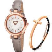 附贈手環 Folli Follie BUBBLE 優雅城市女仕套組-銀x灰色錶帶 WF16R009SPS-GA+3B13T019RK