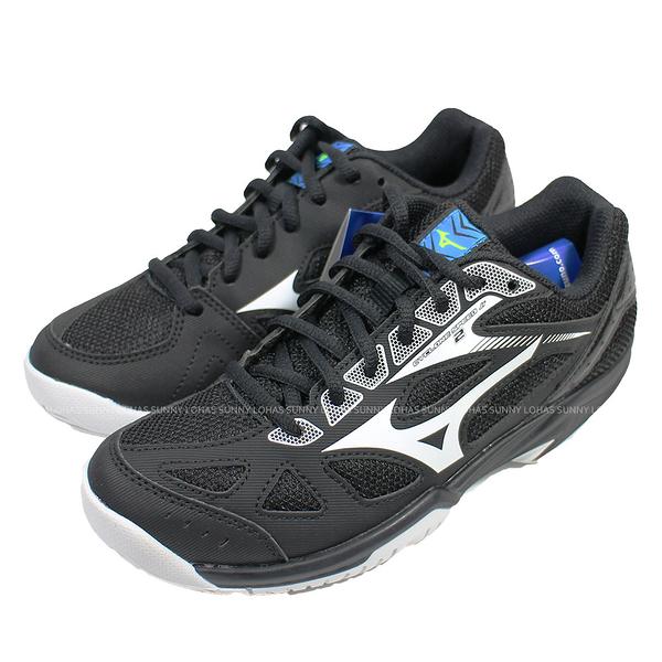 (B8) MIZUNO 美津濃 童鞋CYCLONE SPEED 2 排球鞋 羽球鞋 V1GD191045黑 [陽光樂活]