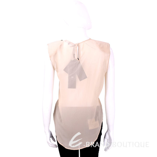ELISABETTA FRANCHI 粉裸色雪紡拼接無袖上衣 1620185-E2