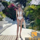 泳衣網美連體比基尼性感泳裝顯瘦遮肚度假泳衣女【慢客生活】