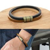 雙色簡約磁鐵真皮手環【NA486】