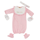 【愛的世界】純棉小蝴蝶髮帶長袖兩用嬰衣5件組禮盒/3~6個月-台灣製- ★禮盒推薦