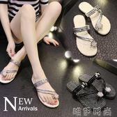 夾腳拖鞋 夏季新款歐洲站套趾水鑽平底中跟涼拖夾腳人字拖鞋女厚底涼鞋 唯伊時尚