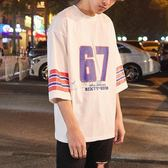 七分袖T恤 嘻哈球服寬鬆短袖T恤男潮學生bf街頭半袖籃球衣情侶七分袖 俏女孩