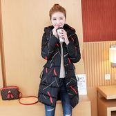 VK精品服飾 韓系休閒線條印花連帽羽絨服單品長袖外套