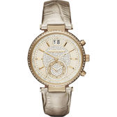 Michael Kors MK Sawyer 名媛晶鑽計時手錶-金/39mm MK2444