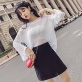 2018秋季新款韓版氣質鏤空喇叭袖寬鬆針織衫 高腰開叉半身裙套裝