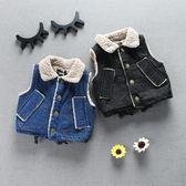 女寶寶加絨牛仔馬甲加厚嬰兒韓版女童小童衣服1-2-3-4歲 伊衫風尚