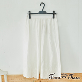 【Tiara Tiara】百貨同步aw 爆賣純棉花邊百搭五分內搭褲/居家褲(白/米/藍)