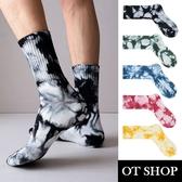 OT SHOP[現貨]襪子 中筒襪 運動襪 中性男女 精梳棉 渲染印花 街頭嘻哈潮流配件 黑/藍/綠/紅/黃 M1092