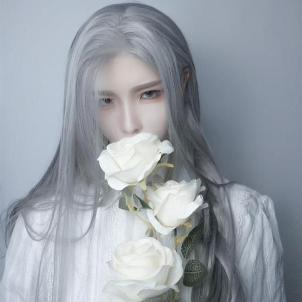 古風男女cos假髮長直髮日常古裝漢服齊腰長髮奶奶灰自然全頭套式 - 歐美韓