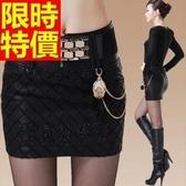 皮裙-有型帥氣格子刺繡包臀顯瘦女短裙63ah13【巴黎精品】