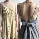 【短版】細肩帶格紋露背蝴蝶結連身裙/小洋裝 2色 M-L碼【P176153】