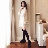 秋冬新款大碼女裝韓版雪紡蕾絲t恤女打底衫長袖寬鬆洋裝子 伊衫風尚