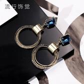 s925純銀耳針韓版高檔圓環方水晶耳環電鍍耳飾 萬客居