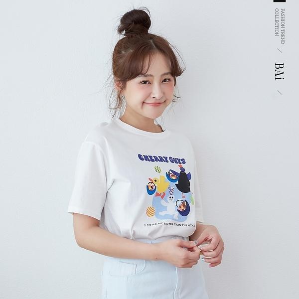 動物派對印圖圓領T恤上衣-BAi白媽媽【310524】