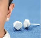 創意幾何銀質耳釘男耳環銀韓國 人個性簡約 流嘻哈街舞單只耳飾