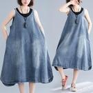 大碼長洋裝夏裝200斤文藝范減齡背帶裙寬鬆V領無袖背心裙牛仔裙 LF4737【極致男人】