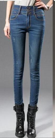 高腰顯瘦 牛仔褲 女加絨加厚