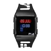 【FILA Watch】經典LOGO方形電子錶-帥氣黑/38-105-006/台灣總代理公司貨享兩年保固