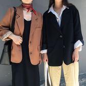 韓版簡約兩粒扣休閒寬鬆上衣氣質純色長袖開衫學生西裝外套女 露露日記