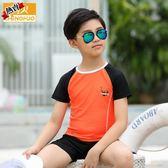 男童泳衣 兒童套裝女孩中小學生分體游泳衣男孩中大童速干防曬