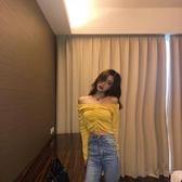 一字領上衣復古韓國chic風氣質時尚純色百搭長袖抽繩系帶一字肩上衣針織衫女 麗人印象 全館免運