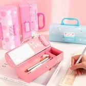 密碼文具盒女小學生新款公主多層筆盒大容量三層