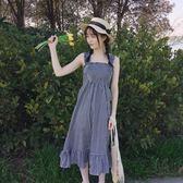 洋裝 學院風小清新格子吊帶裙女裝韓版夏季中長裙木耳邊a字裙連身裙子【一件免運】