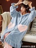浴袍 珊瑚絨睡袍女睡衣秋冬季長款網紅款加厚可愛毛茸茸法蘭絨女士浴袍