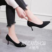 高跟鞋韓版百搭絨面細跟單鞋淺口性感職業工作鞋