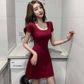 酒紅色洋裝 赫本風U領性感連身裙收腰顯瘦修身氣質小個子緊身高腰A字裙短裙夏-Ballet朵朵