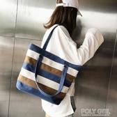 大包包2020夏季韓版帆布包女包側背簡約清新休閒學生大容量手提袋 polygirl