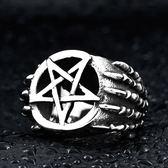 《 QBOX 》FASHION 飾品【RBR8-271】精緻龐克風五角星骷顱頭鑄造鈦鋼戒指/戒環