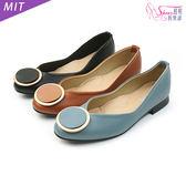 包鞋.MIT圓型裝飾低跟包鞋.黑/棕/藍【鞋鞋俱樂部】【028-1766】