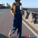 吊帶褲 寬鬆百搭直筒連體褲女2021春裝韓版學生減齡闊腿牛仔背帶褲春季潮新品