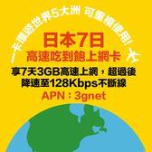 日本7日吃到飽上網卡(前3GB高速,可重覆使用,三合一SIM卡)