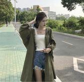 韓版中長款大碼風衣女裝寬松單排扣顯瘦長袖薄外套潮