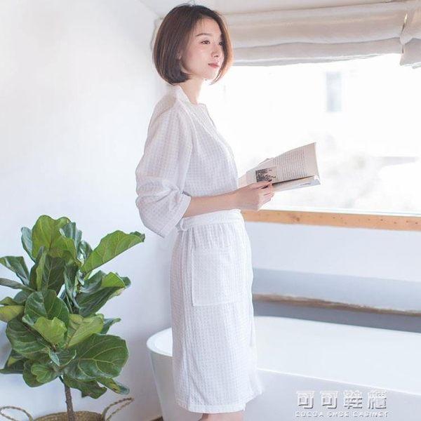 浴袍女薄款華夫格睡袍男女士中長款情侶七分袖浴衣睡衣家居服 可可鞋櫃