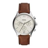 【Fossil】Fenmore羅馬時標時尚三眼真皮摩登腕錶-白面棕/BQ2363/台灣總代理公司貨享兩年保固