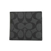 COACH 防水PVC LOGO八卡對折男夾附名片夾(黑灰)