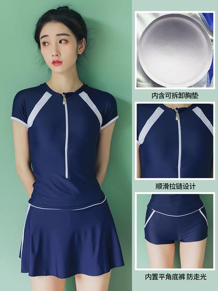 分體游泳衣女保守三件套遮肚顯瘦新款韓國小香風溫泉學生泳衣