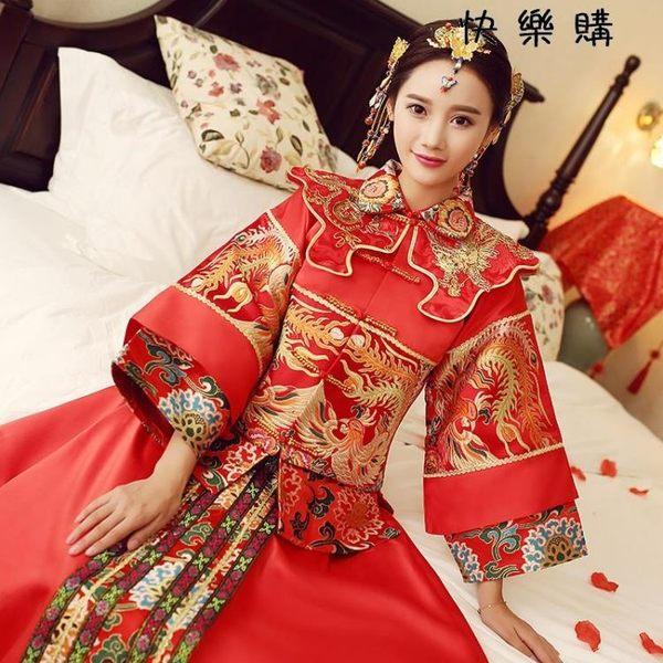 秀禾服中式紅色禮服嫁衣新娘結婚敬酒服旗袍