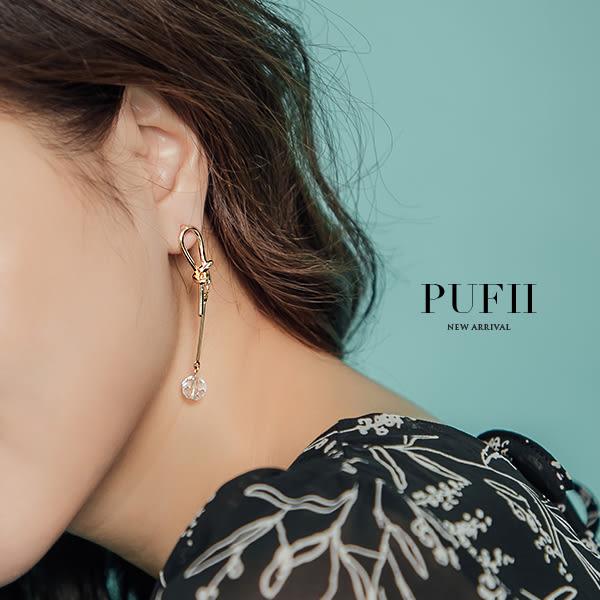 限量現貨★PUFII-耳環 水鑽垂吊式不對稱耳環-0425 現+預 春【CP16576】