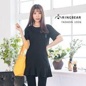 休閒洋裝--時尚可愛童趣英文印花寬鬆修飾荷葉裙擺黑色洋裝(黑M-3L)-D500眼圈熊中大尺碼